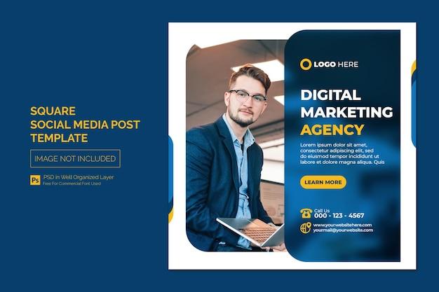 Digitaal marketingbureau en zakelijke sociale media plaatsen of vierkante webbannersjabloon Premium Psd