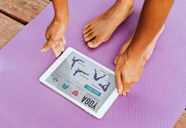 Digitale applicatie voor yoga Gratis Psd