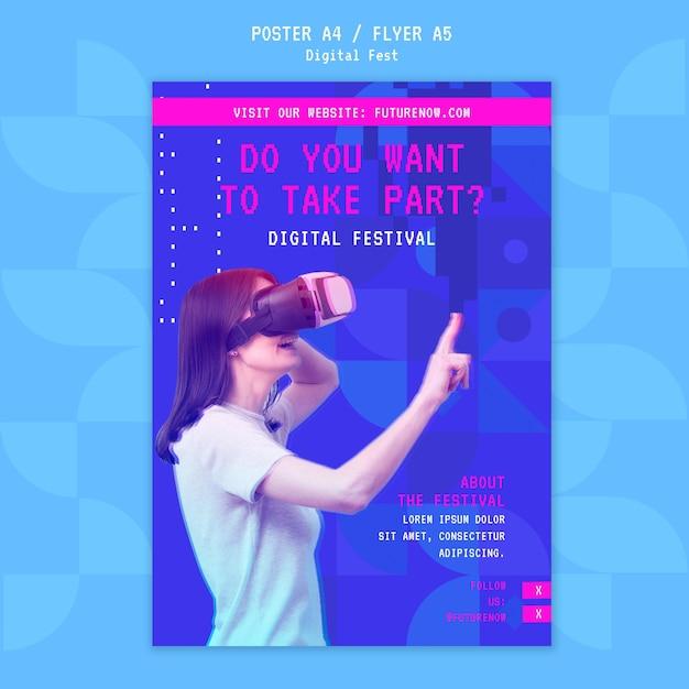 Digitale festival virtual reality headset-poster Gratis Psd