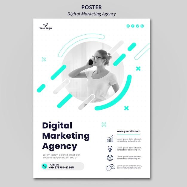 Digitale marketingbureau poster Gratis Psd