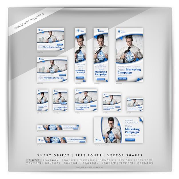 Digitale zakelijke marketing google-bannerset Premium Psd