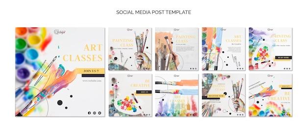 Dipingi e disegna il modello di post sui social media Psd Gratuite