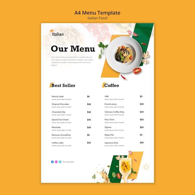 Disegno del modello di menu di cibo italiano Psd Gratuite
