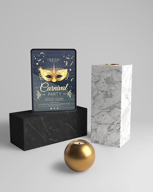 Diseño abstracto minimalista con maqueta y balón de oro. PSD gratuito