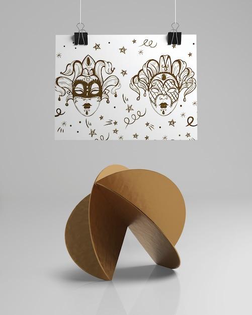 Diseño abstracto de vista frontal con bocetos de máscara PSD gratuito