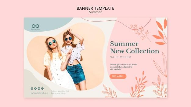 Diseño de banner de venta de colección de verano PSD Premium