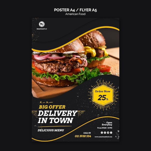 Diseño de carteles comida americana PSD Premium