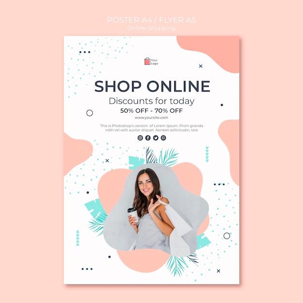 Diseño de carteles de compras en línea PSD gratuito