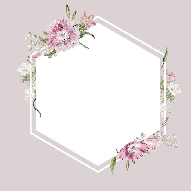 Diseño floral del marco PSD gratuito