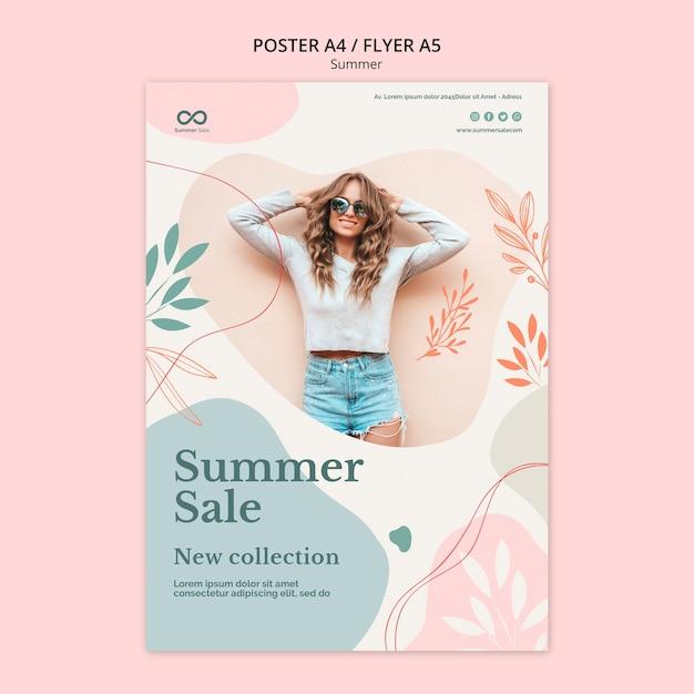Diseño de flyer de colección de verano PSD gratuito