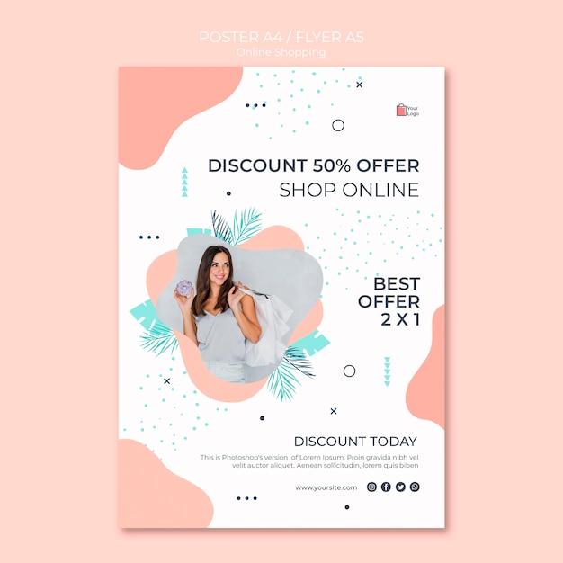 Diseño de flyer de compras en línea PSD gratuito