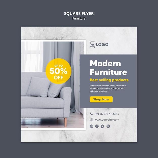 Diseño de flyer cuadrado de muebles modernos. PSD gratuito