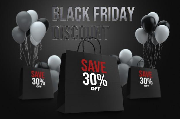 Diseño de maqueta de compras de black friday bag PSD Premium