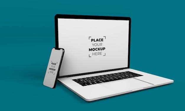 Diseño de maqueta de portátil y smartphone de pantalla completa PSD gratuito