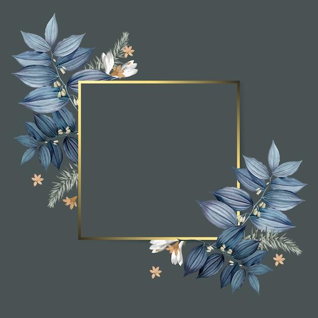 Diseño de marco dorado floral vacío PSD gratuito