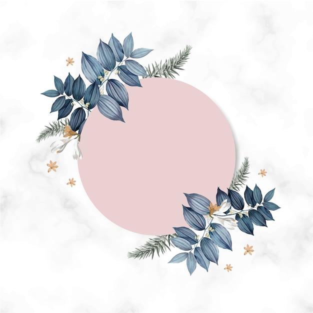 Diseño de marco de tarjeta floral vacío PSD gratuito