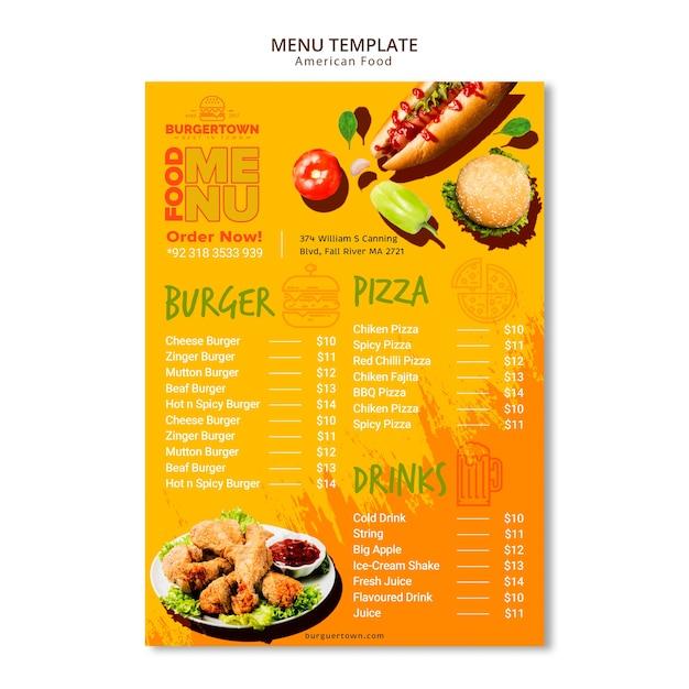 Diseño de menú de comida americana PSD Premium