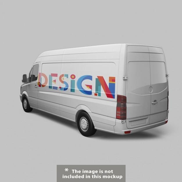 Diseño de mock up de furgoneta PSD gratuito