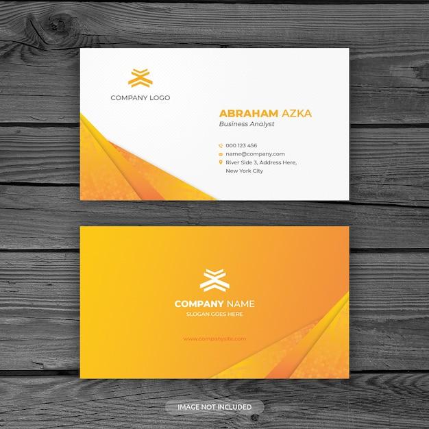 Diseño moderno de tarjeta de visita naranja con concepto corporativo PSD Premium