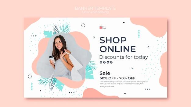 Diseño de plantilla de banner de compras en línea PSD gratuito