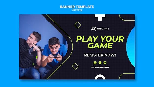 Diseño de plantilla de banner de concepto de juego PSD gratuito