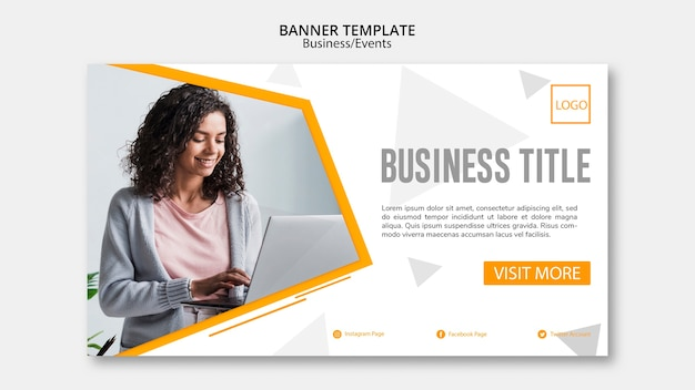 Diseño de plantilla de banner de negocio abstracto PSD gratuito