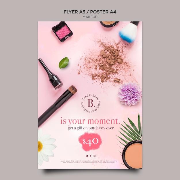 Diseño de plantilla de cartel de concepto de maquillaje PSD gratuito