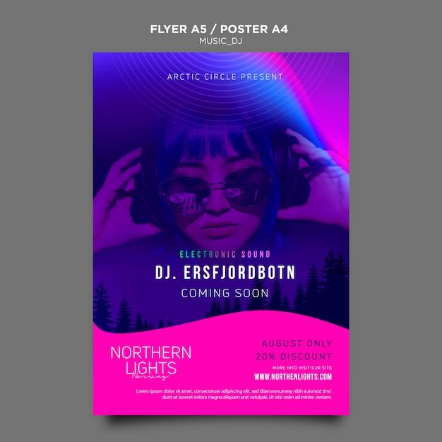 Diseño de plantilla de cartel de dj de música PSD gratuito
