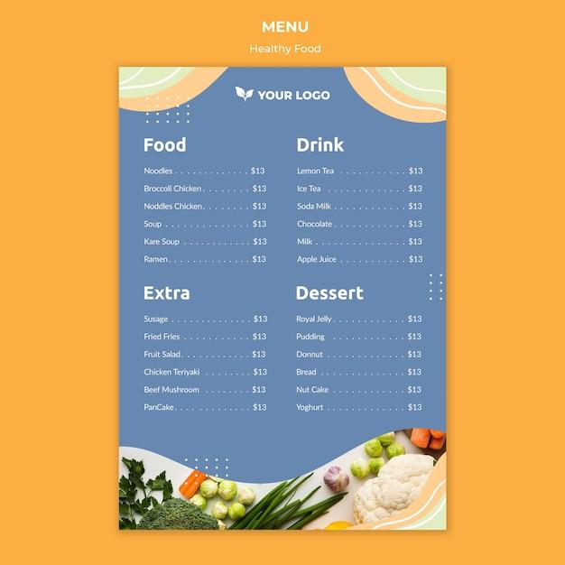 Diseño de plantilla de menú de restaurante PSD gratuito
