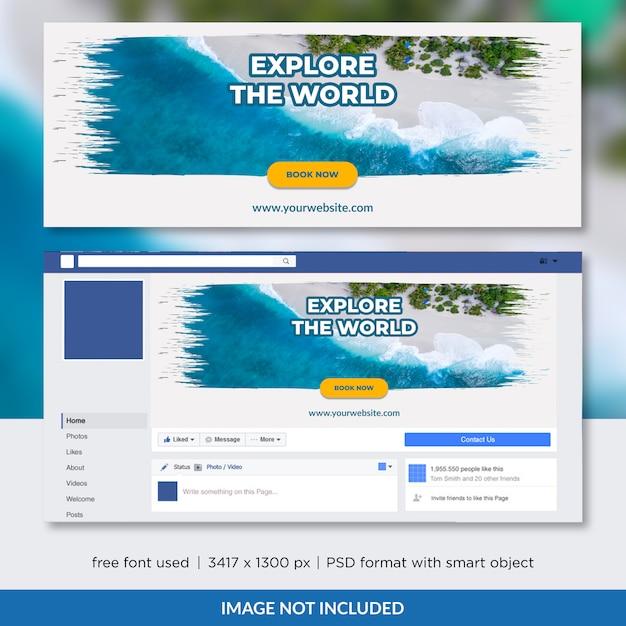 Diseño de plantilla de portada de línea de tiempo de facebook de agencia de viajes PSD Premium