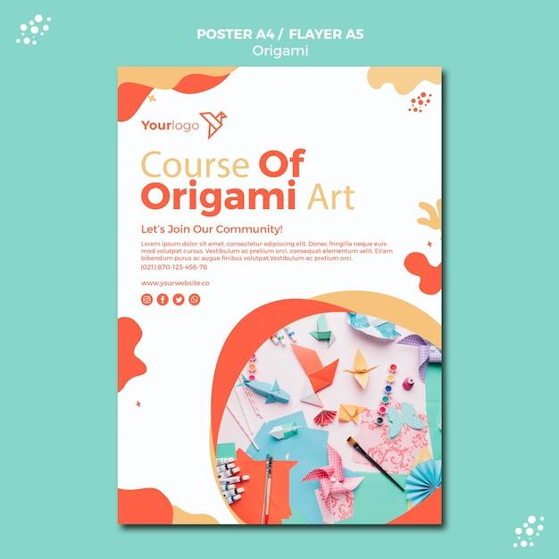 Diseño de plantilla de póster de origami PSD gratuito