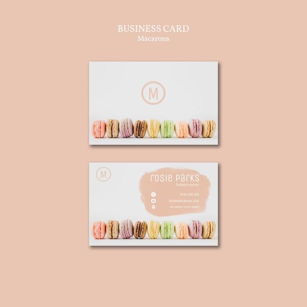Diseño de plantilla de tarjeta de visita macarons PSD gratuito