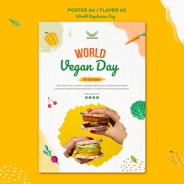 Diseño de plantilla de volante del día mundial del vegetariano PSD gratuito