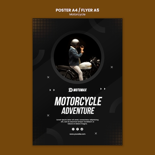 Diseño de póster de aventura en moto PSD gratuito