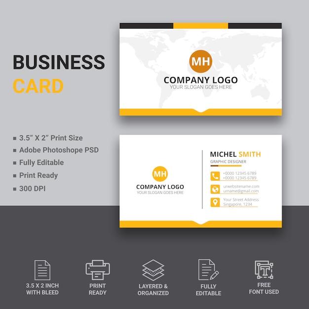 Diseño simple de tarjeta de visita PSD Premium