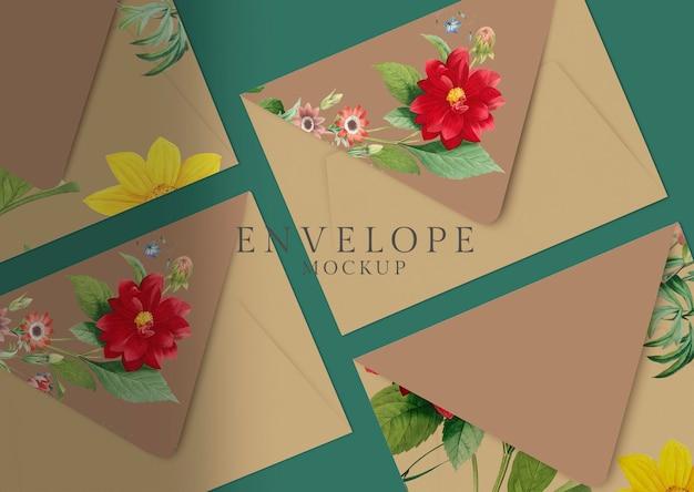 Diseño de sobre floral PSD gratuito
