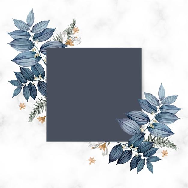 Diseño de tarjeta cuadrada en blanco floral azul PSD gratuito