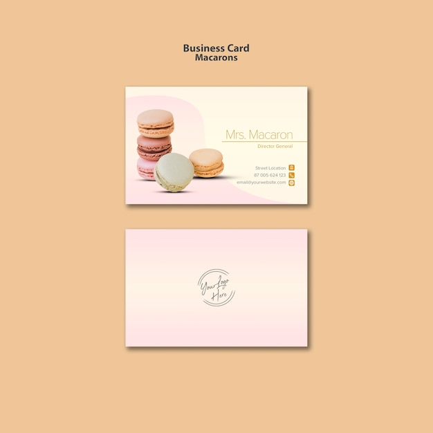 Diseño de tarjeta de presentación macarons PSD gratuito