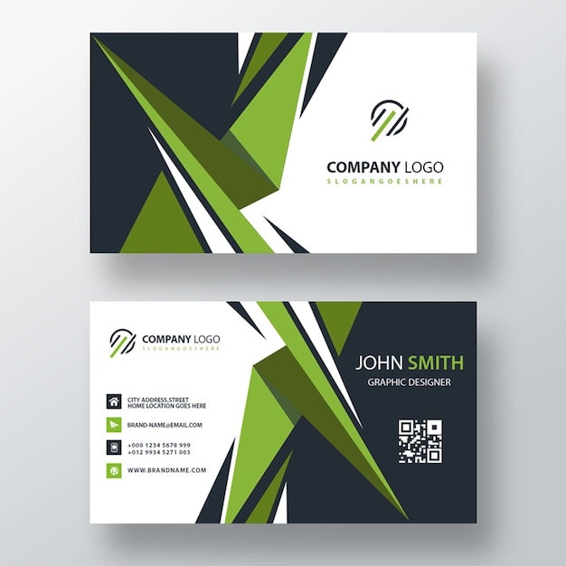 Diseño de tarjeta de visita verde PSD gratuito