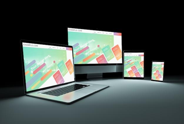 Dispositivos modernos en maqueta oscura PSD Premium