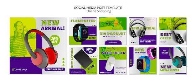 Dispositivos de plantilla de publicación de redes sociales las compras en línea PSD gratuito