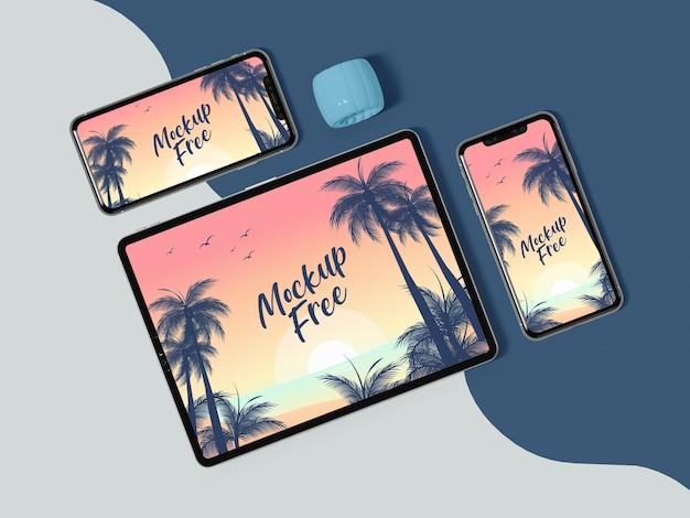 Disposizione piatta per tablet e telefono Psd Gratuite