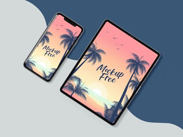 Disposizione telefono e tablet vista dall'alto Psd Gratuite