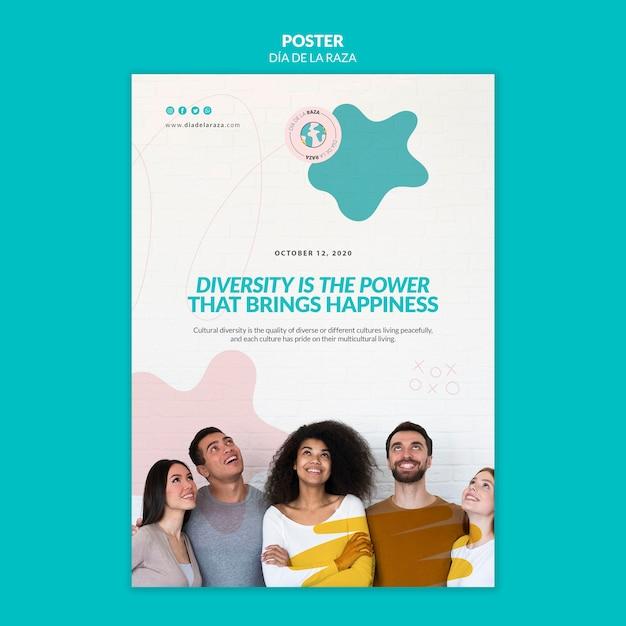 Diversiteit is de kracht die een poster-sjabloon voor geluk brengt Gratis Psd