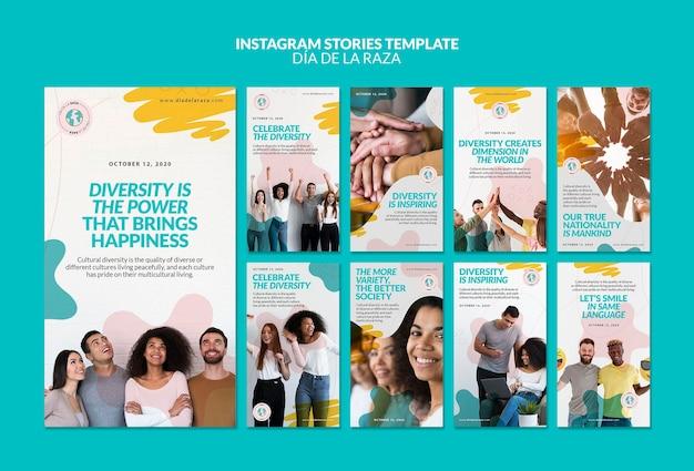Diversiteit is de kracht van instagram-verhalen Premium Psd