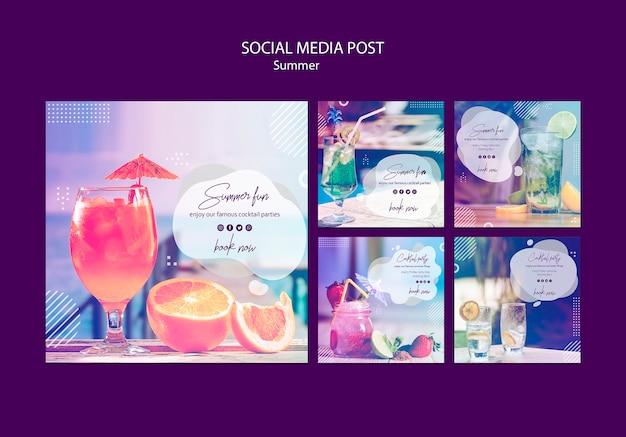 Divertimento estivo social media post modelli con foto Psd Gratuite