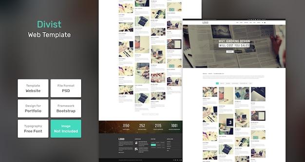 Divist portfolio websjabloon Premium Psd