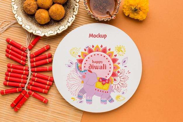 Diwali festival vakantie olifant en vuurwerk Gratis Psd