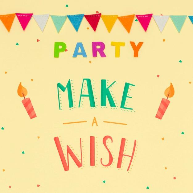 Doe een wens op verjaardagsfeestje concept Gratis Psd