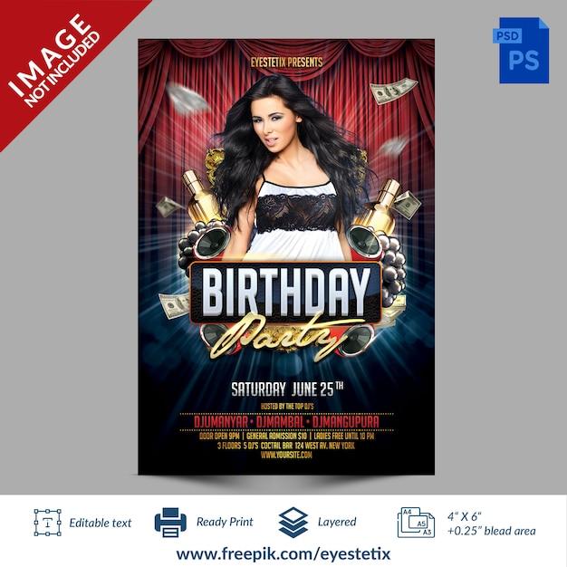 Donker rood & blauw verjaardagsfeestje photoshop flyer sjabloon Premium Psd